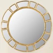 Mercer41  Wald Round Antique Gold Patina Sunburst Wall Mirror