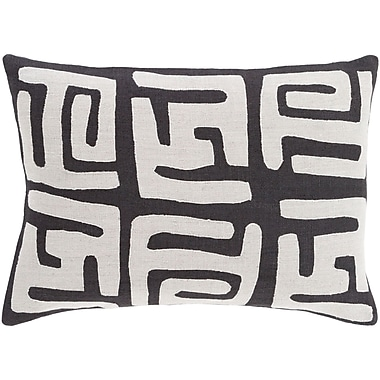 World Menagerie Bomaderry 100pct Linen Lumbar Pillow Cover; Gray/Black