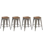 Union Rustic Desiree 24'' Bar Stool (Set of 4); Stainless Steel