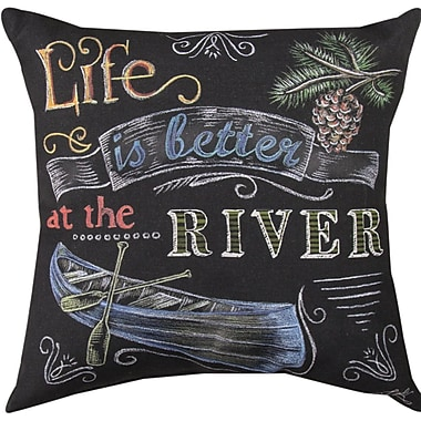 Manual Woodworkers & Weavers Life is Better at the River Throw Pillow