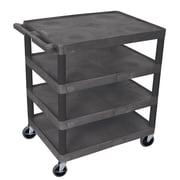 Offex 4 Flat Shelf Utility Cart; Black