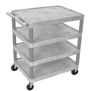 Offex 4 Flat Shelf Utility Cart; Gray