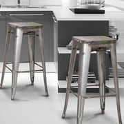 Homebeez 30'' Bar Stool (Set of 2); Silver/Gray