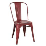 Homebeez Metal Stacking Side Chair (Set of 2); Red