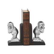 Cole & Grey Polystone Ram Head Book Ends (Set of 2); Silver and Black