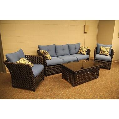 HuayueAlu,/m.Manu.Co.Ltd. Monoco Bay Aluminum 4 Piece Deep Seating Group w/ Cushions