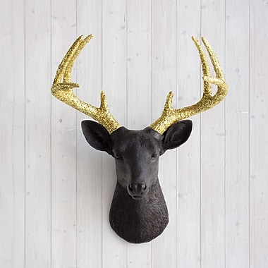 Wall Charmers Virginia Faux Taxidermy Deer Head Wall D cor; Black/Gold Glitter