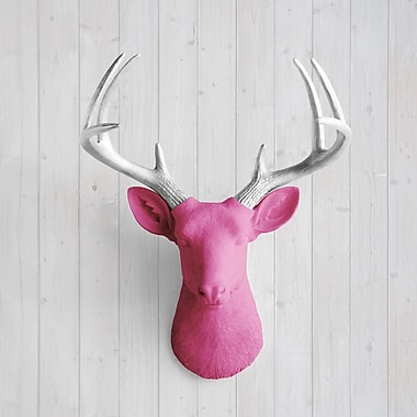 Wall Charmers Virginia Faux Taxidermy Deer Head Wall D cor; Fuchsia/Silver