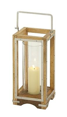 Cole & Grey Wood and Metal Lantern; 21'' H x 8'' W x 8'' D
