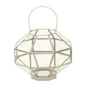 Cole & Grey Glass Lantern; Silver / Clear