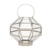 Cole & Grey Glass Lantern; Silver / Clear