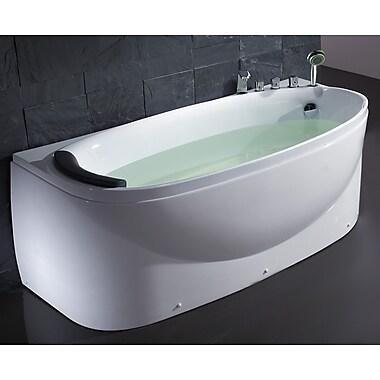 EAGO Acrylic 72'' x 31.5'' Freestanding Soaking Bathtub; Right