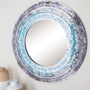 Cole & Grey Wood Turquoise Mosaic Wall Mirror