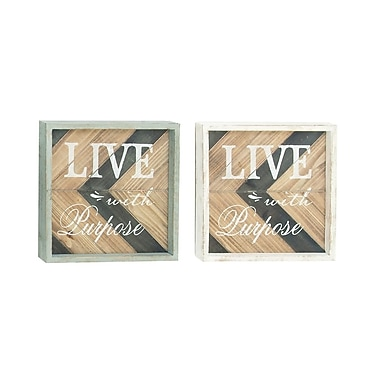 Cole & Grey Wood Wall D cor (Set of 2)