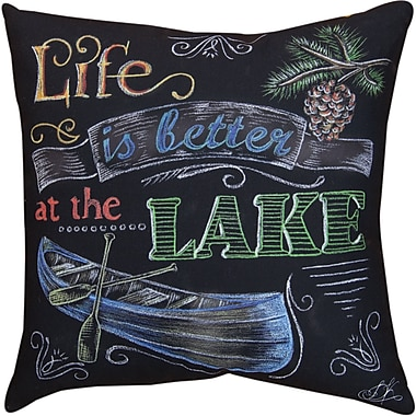 Manual Woodworkers & Weavers Lake Time Life is Better a the Lake Throw Pillow
