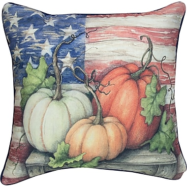 Manual Woodworkers & Weavers Pumpkins Farm to Table Patriotic Knife Edge Cotton Throw Pillow