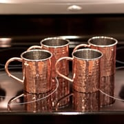 ZallZo Tall Hammered Polished Handmade 16 oz. Copper Mugs (Set of 4)