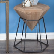 Cole & Grey Wood/Metal Diamond End Table; Stained Brown
