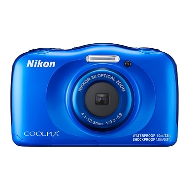 Nikon COOLPIX W100 Waterproof Camera, 13.2MP, 3X Optical Zoom, Blue (32366)