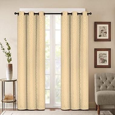 J&V Textiles Madison Embossed Lattice Blackout Curtain Panels; Beige