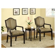 Darby Home Co Underhill 3 Piece Cotton Arm Chair and Side Table Set; Espresso
