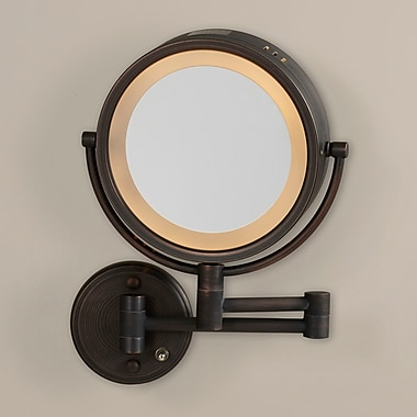 Darby Home Co Dual Sided Wall Mount Halo Lighted Mirror; Bronze