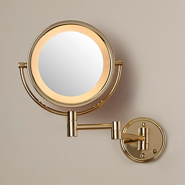 Darby Home Co Dual Sided Wall Mount Halo Lighted Mirror; Bright Brass