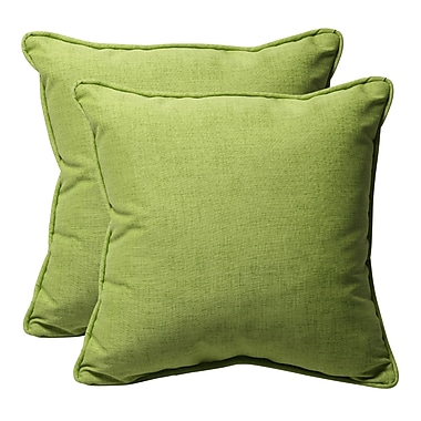 Darby Home Co Purlles Outdoor Throw Pillow (Set of 2); Green Textured Solid