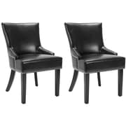 Darby Home Co York Genuine Leather Upholstered Dining Chair (Set of 2); Black