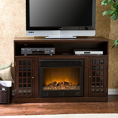 Darby Home Co Industry TV Stand w/ Electric Fireplace; Espresso