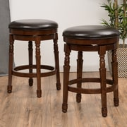 Darby Home Co Laver 25.6'' Swivel Bar Stool (Set of 2); Chocolate Brown