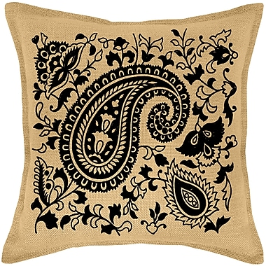 Darby Home Co Paisley Burlap Throw Pillow; Black