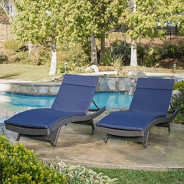 Darby Home Co Peyton Adjustable Wicker Chaise Lounge w/ Cushion (Set of 2); Navy
