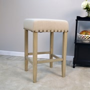 Darby Home Co Stafford 24'' Bar Stool; Weathered Grey / Linen