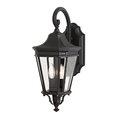 Darby Home Co Chesterhill 2-Light Outdoor Wall Lantern; Black