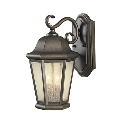 Darby Home Co Hereford 2-Light Outdoor Wall Lantern; Corinthian Bronze