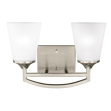 Darby Home Co Elkton 2-Light Vanity Light; Brushed Nickel