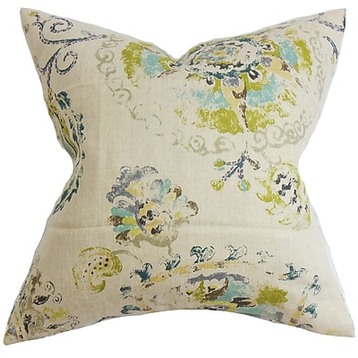 Darby Home Co Haydenville Floral Linen Throw Pillow Cover; Turquoise