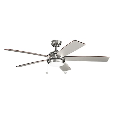 Darby Home Co Danesfield 60'' LED 5 Blade Fan; Polished Nickel with Silver Blades