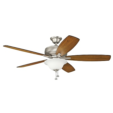 Darby Home Co Silas 60'' Select 5 Blade Fan; Brushed Nickel with Silver Blades