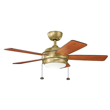 Darby Home Co Danesfield 42'' LED 5 Blade Fan; Natural Brass with Medium Cherry Blades