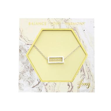 Foxy Originals – Collier avec pendentif rectangulaire Harmony, argenté