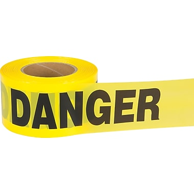 Zenith Safety Barricade Tape, 1000', 1.5 mil, Black/Yellow, 10/Pack (sds739)