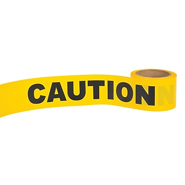 Zenith Safety Barricade Tape, 300', 1.5mil, Black/Yellow, 36/Pack (SFJ602)