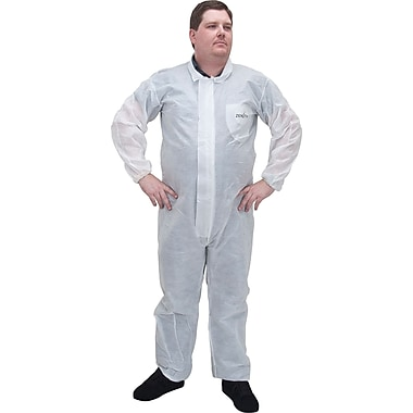 Zenith Safety SMS Protective Clothing, Coveralls, SMS, 3X Large, White, 12/Pack (SEC839)