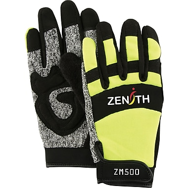 Zenith Safety ZM500 Hi-Viz Cut Resistant Mechanic Gloves, Large, 2/Pack (SDP434)