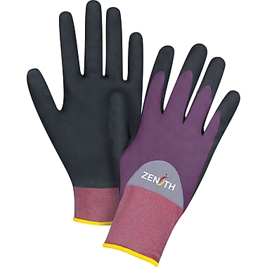 Zenith Safety ZX-2 Premium 3/4 Nitrile and Nitrile Foam Palm Coated Gloves, Medium, 12/Pack (SDP445)