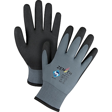 Zenith Safety ZX-30 degree Premium Foam PVC Palm Coated Acrylic Lined Gloves, Large , 12/Pack (SFQ727)
