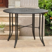 Darby Home Co Doric Iron 39'' Round Patio Dining Table; Black