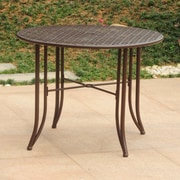 Darby Home Co Doric Iron 39'' Round Patio Dining Table; Matte Brown
